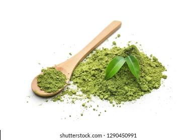 Powdered matcha tea on white background