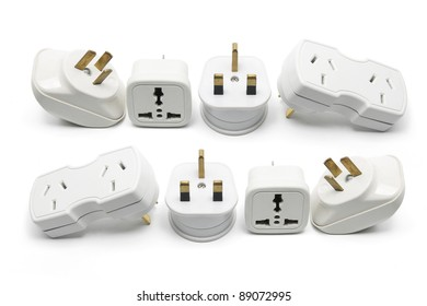 Power Adapters on White Background