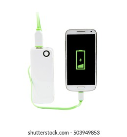Power bank charging white smartphone with isolated background.