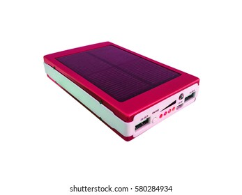 power bank within solar cell on white background.