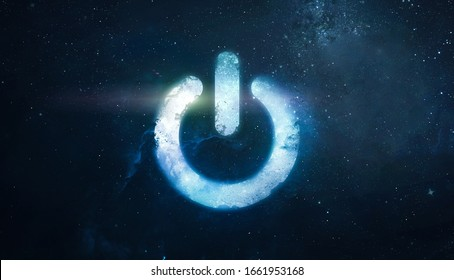 Power button of energy in the space. Earth hour event. Protection on planet and environment. Elements of this image furnished by NASA