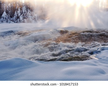 Power by nature, biggest waterfall Storforsen in winter, minus 30