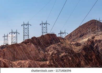 Power cables in a rocky Nevada landscape