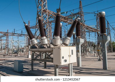 Power circuit breaker in substation, geothermal power plant. MEXICO