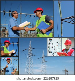 Power Company Electrical Engineers - Collage. Electricity distribution. Collage of photographs showing electric company engineers and workers at work.