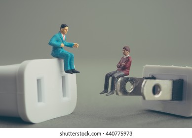 Power cord and businessman