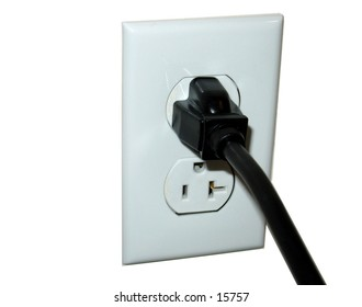Power cord plugged into an outlet