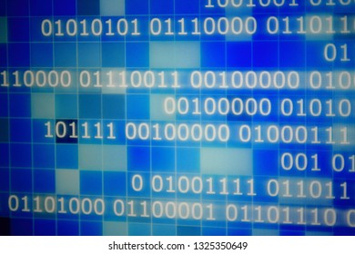 power of digital big data. close up image of one and zero icon for data server business concepts. multiple shade of blue light pixel blocks.