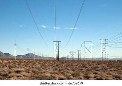 Power distribution lines in the desert