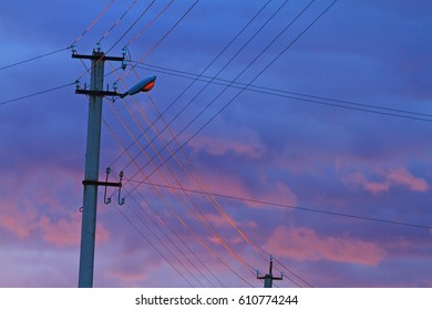 power electricity lines at sunset