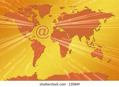 Power of Email on World Map