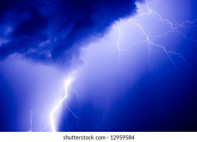 power energy lightning flash on blue background