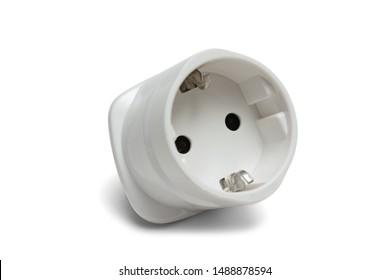 Power euro adapter socket electrical plug isolated on white background.