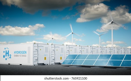 Power to gas concept with fresh sunny sky. Hydrogen energy storage with renewable energy sources - photovoltaic and wind turbine power plant farm. 3d rendering.