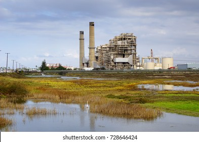 power generating station with smokestacks and wetland