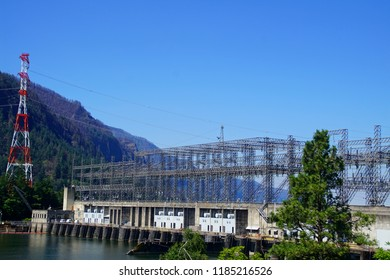 Power generating  turbines of the  Bonneville Dam on the Columbia River in  Oregon