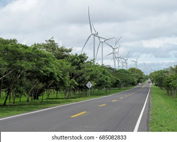 Power generation wind farm along the road, Nicaragua, Central America