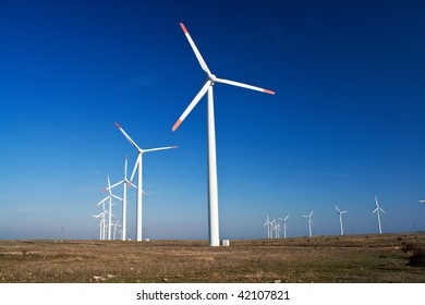 Power generators with blue clear sky