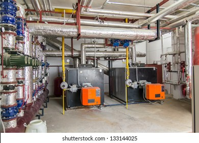 Power Generators In A Factory Machinery Room