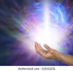 The Power and the Glory - open palm with a powerful shaft of white light radiating outwards and upwards in a swirling blue vortex of energy on a dark psychedelic pattern background