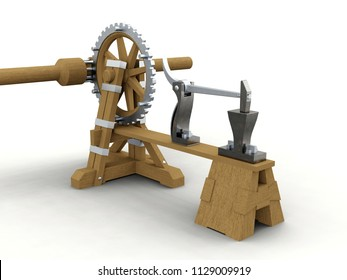 Power hammer, Leonardo da Vinci, Codex Madrid I 0009v. 3D model.