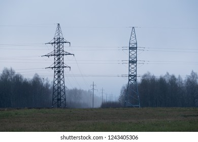 Power industry. Industrial landscape with high voltage power lines.