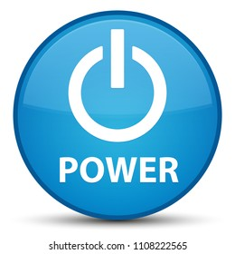 Power isolated on special cyan blue round button abstract illustration