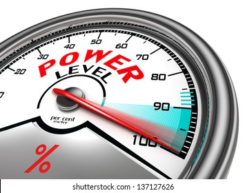 power level conceptual indicator meter isolated on white background
