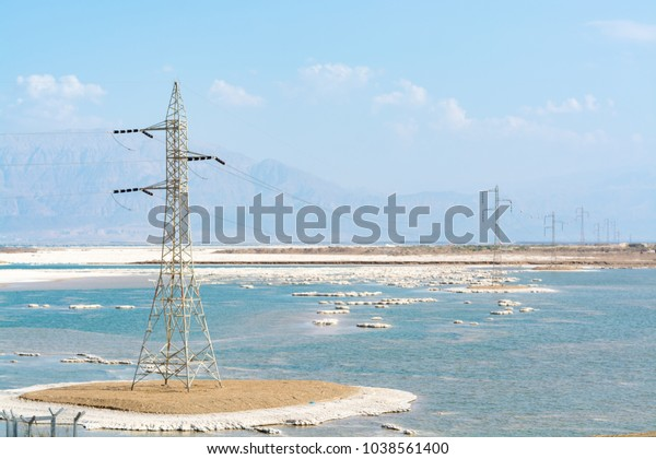 Power Line Above Lowest Salty Lake Stock Photo (Edit Now