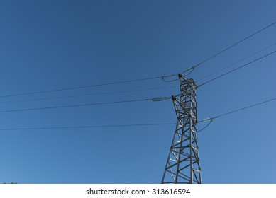 Power line isolated against the blue sky