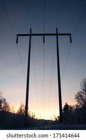 Power line silhouette in winter light