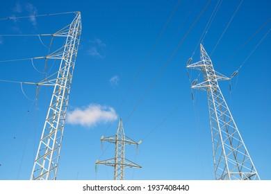 Power line in Teruel province, Aragon in Spain.