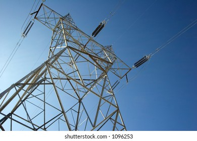 A power line towers above the ground