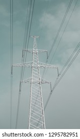power line towers against the sky