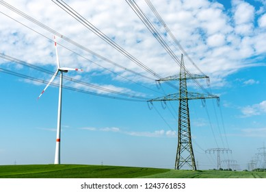 Power line and wind turbine seen in Germany