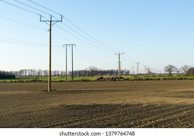 Power lines across farmers fields by spring season