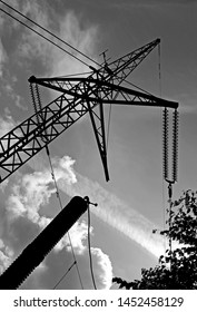 Power Lines: Dead-end-tower of the overhead high-voltage direct-current transmission line at the substation of Konti-Skan 1 and 2 in Oesterby on the Danish Kattegat island of Laesoe