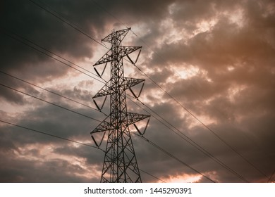 power lines. electricity distribution station. high voltage electric transmission tower.