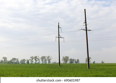 Power lines fixed to concrete poles. Photo landscapes