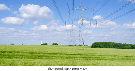 Power Lines: High-voltage power line over a growing barley field in Eastern Thuringia in springtime
