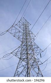 Power lines on a blue sky