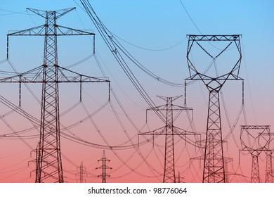 Power lines on evening sky