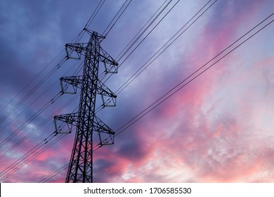Power lines on a sunset