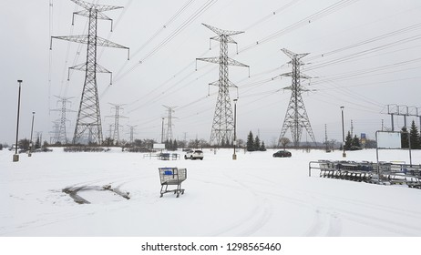 Power lines and snow in a Winter day in Ontario