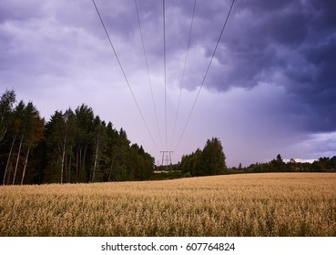 Power lines in stormy countryside landscape. Wires above a field leading to the vanishing point.