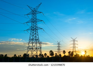 Power lines at sunrise in Asuncion, Paraguay