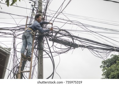 power lines in the town of Luang Prabang in the north of Laos in Southeastasia, lao, luang prabang, november, 2017...