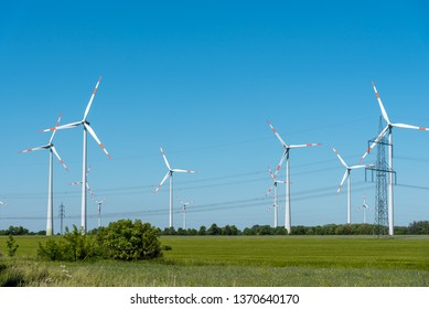Power lines and wind engines seen in Germany