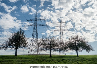 Power masts of an overland high voltage power line