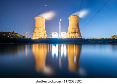 power plant by night,Cooling tower of nuclear power plant Dukovany